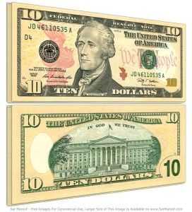 10 dolarów, wymiana walut, kursy walut