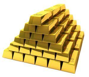 rezerwy walutowe, najczęściej w złocie