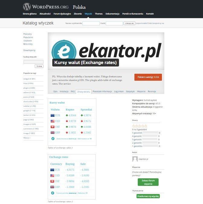 wtyczka Ekantor.pl na WordPress