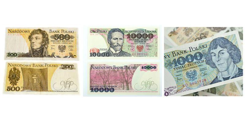 Polskie banknoty przed denominacją - 500zł , 1000zł i 10000zł