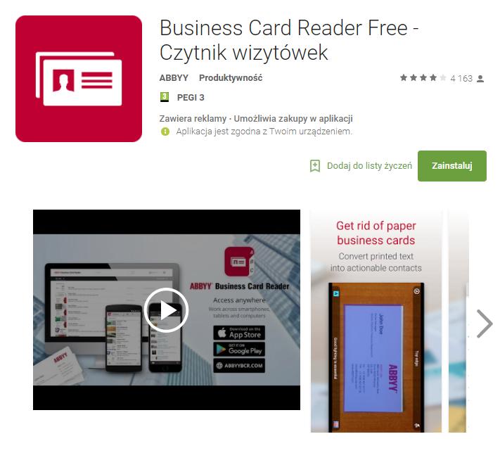 Business Card Reader Free - Czytnik wizytówek