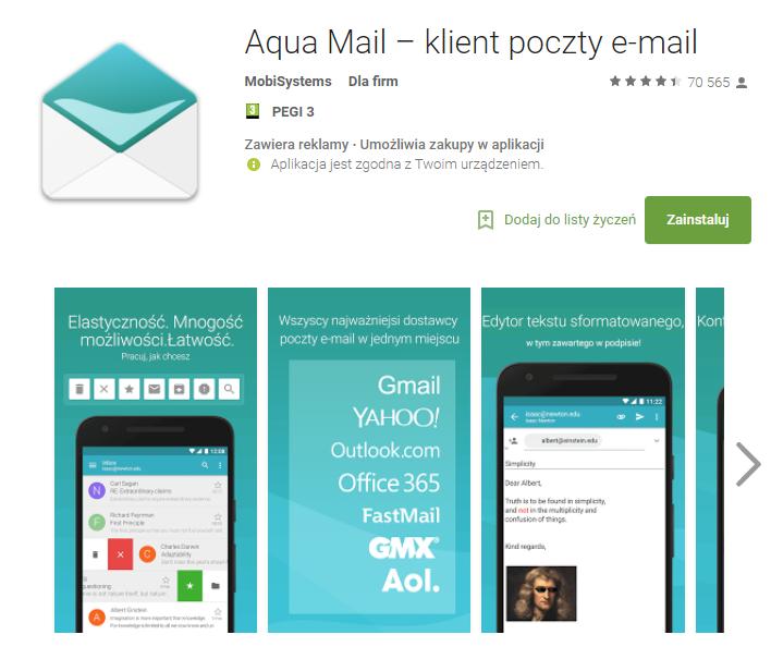 Aqua mail, aplikacje, biznes, Ekantor.pl