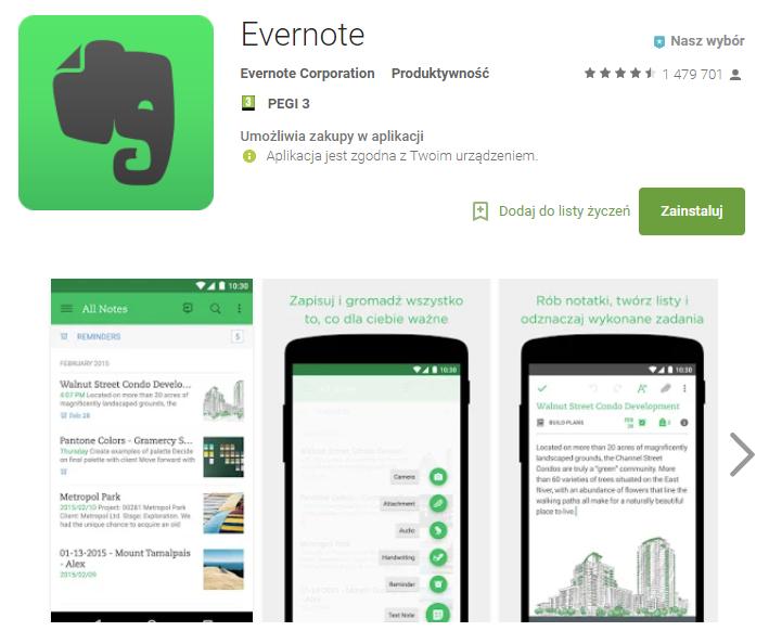 Evernote, aplikacja, notatki, telefon, Ekantor.pl