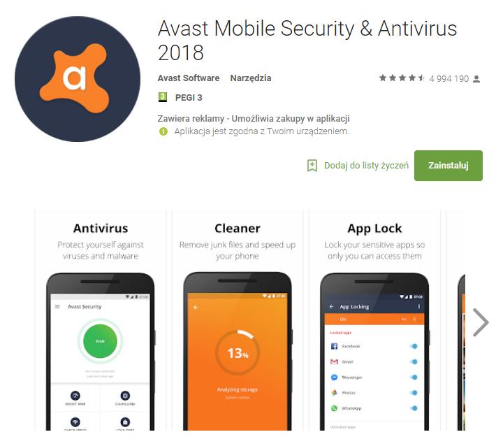 Avast, bezpieczeństwo, android, Ekantor.pl