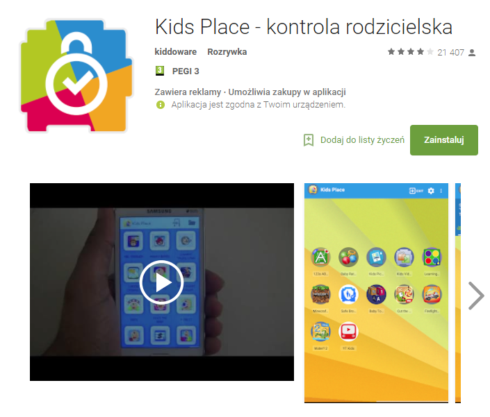kids place, aplikacja, smartfon, android, Ekantor.pl