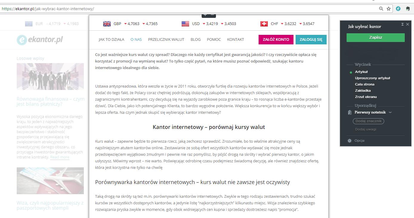 Evernote, screen, artykuł, notatki, Ekantor.pl