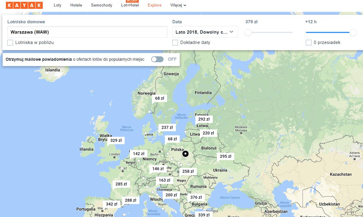 Kayak, podróże, lot, tanie latanie, wyszukiwarka lotów, Ekantor.pl