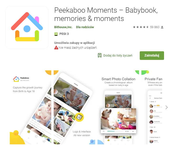 Peekaboo Moments Babybook memories&moments, aplikacje, android, Ekantor.pl