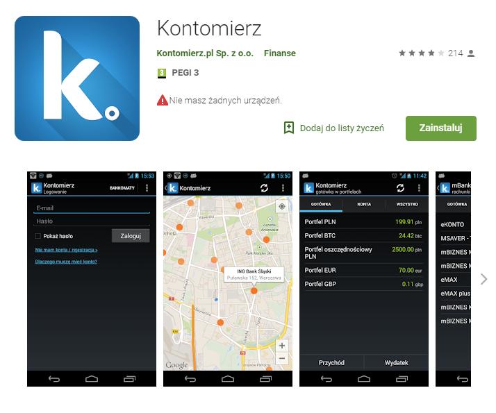 kontomierz, aplikacja, android, budżet domowy, Ekantor.pl