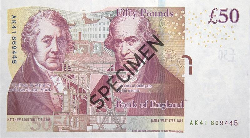 50 funtów, funt, rewers, GBP, Ekantor.pl