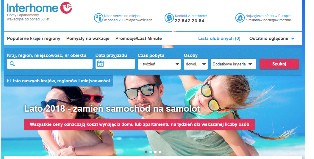 interhome, nocleg, rezerwacja noclegów, Ekantor.pl