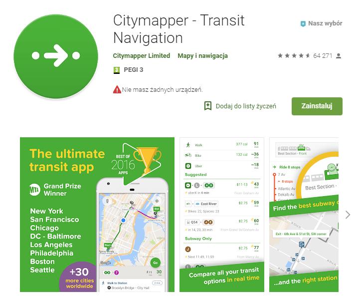 Citymapper - Transit Navigation, aplikacje dla podróżujących, mapy, podróże, Ekantor.pl