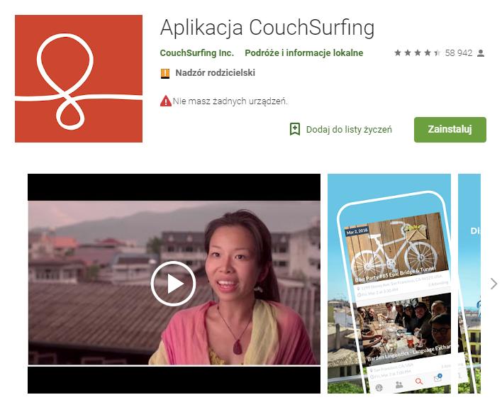 CouchSurfing, aplikacje, nocleg, rezerwacja noclegu, aplikacja dla podróżujących, Ekantor.pl