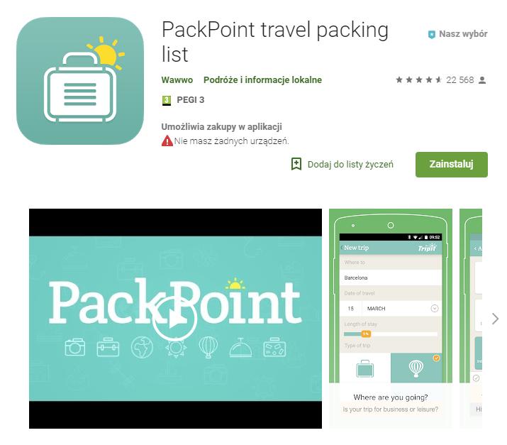 PackPoint travel packing, aplikacja, aplikacje na Android, smartfon, Ekantor.pl
