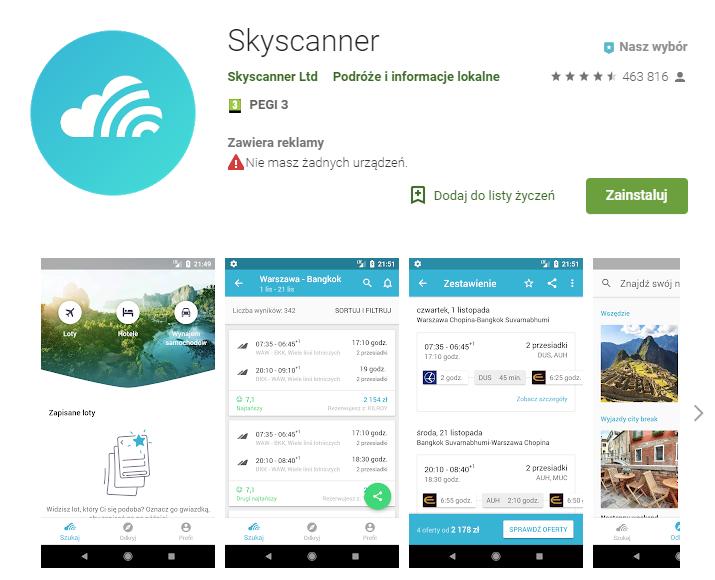 skyscanner, wyszukiwarka lotów, aplikacja dla podróżujących, aplikacja na Android, Ekantor.pl
