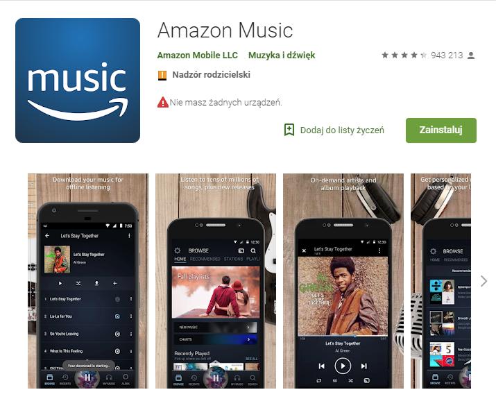 Amazon Music, aplikacje, aplikacja muzyczna, odtwarzanie muzyki na telefonie, smartfon, android, Ekantor.pl