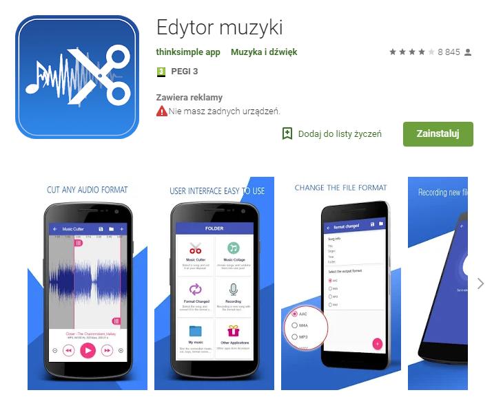 Edytor Muzyki, aplikacja na telefon, aplikacja Android, Ekantor.pl