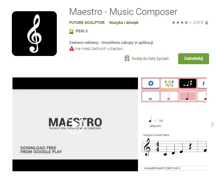 Maestro - Music Composerm, komponowanie muzyki, muzyka w telefonie, aplikacje muzyczne na telefon, Ekantor.pl,