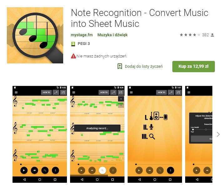 Note Recognition, aplikacja, muzyka, edycja muzyki, Ekantor.pl