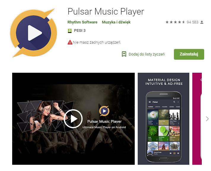 Pulsar Music Player, aplikacje, aplikacja na telefon, aplikacja na Android, odtwarzanie muzyki, Ekantor.pl