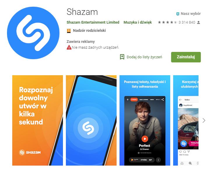Shazam, aplikacje, rozpoznawanie muzyki, aplikacja muzyczna, Android, Ekantor.pl