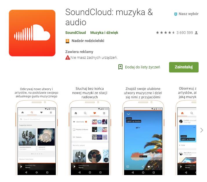 SoundCloud, aplikacja, aplikacje muzyczne, aplikacje Android, muzyka, muzyka w telefonie, Ekantor.pl