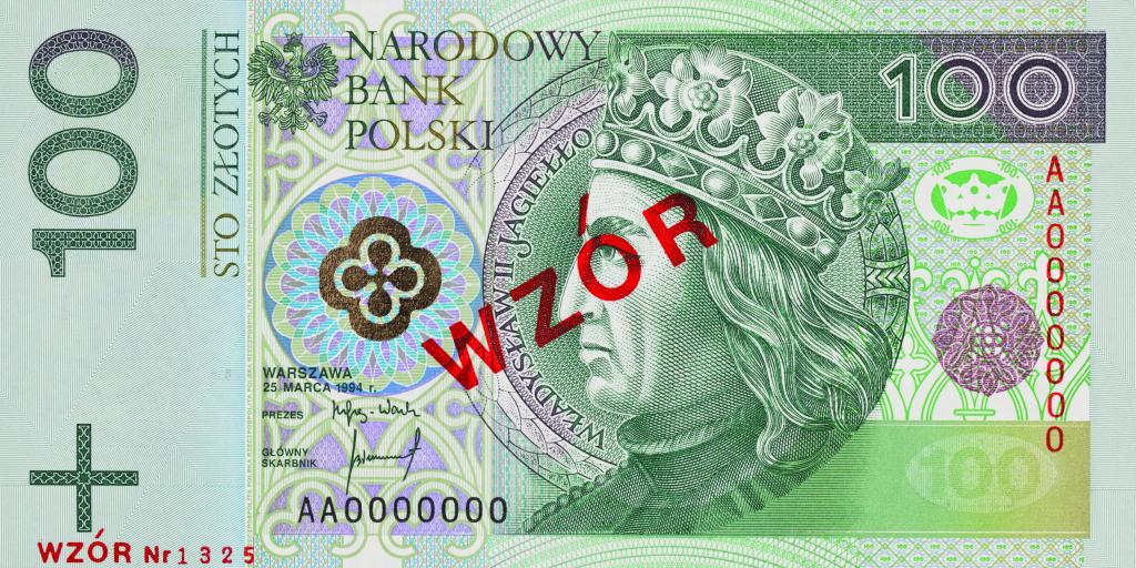 awers, 100 zł, banknot, polskie banknoty, pieniądze, wymiana walut, Ekantor.pl