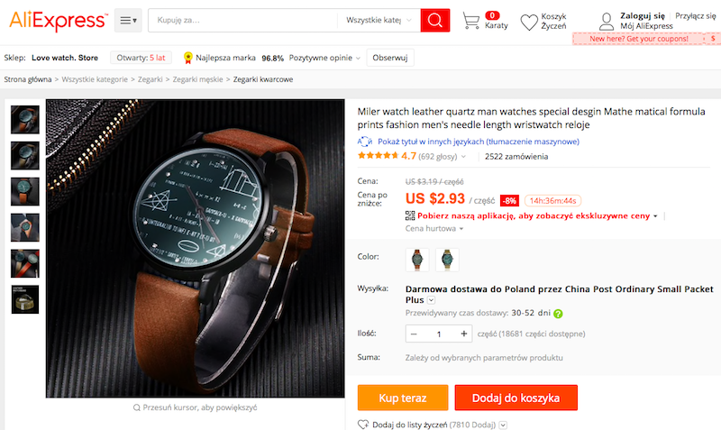 zegarek, aliexpress, prezent, wymiana walut, Ekantor.pl