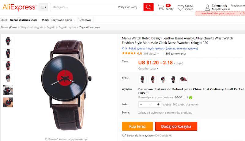 zegarek, muzyka, aliexpress, wymiana walut, Ekantor.pl