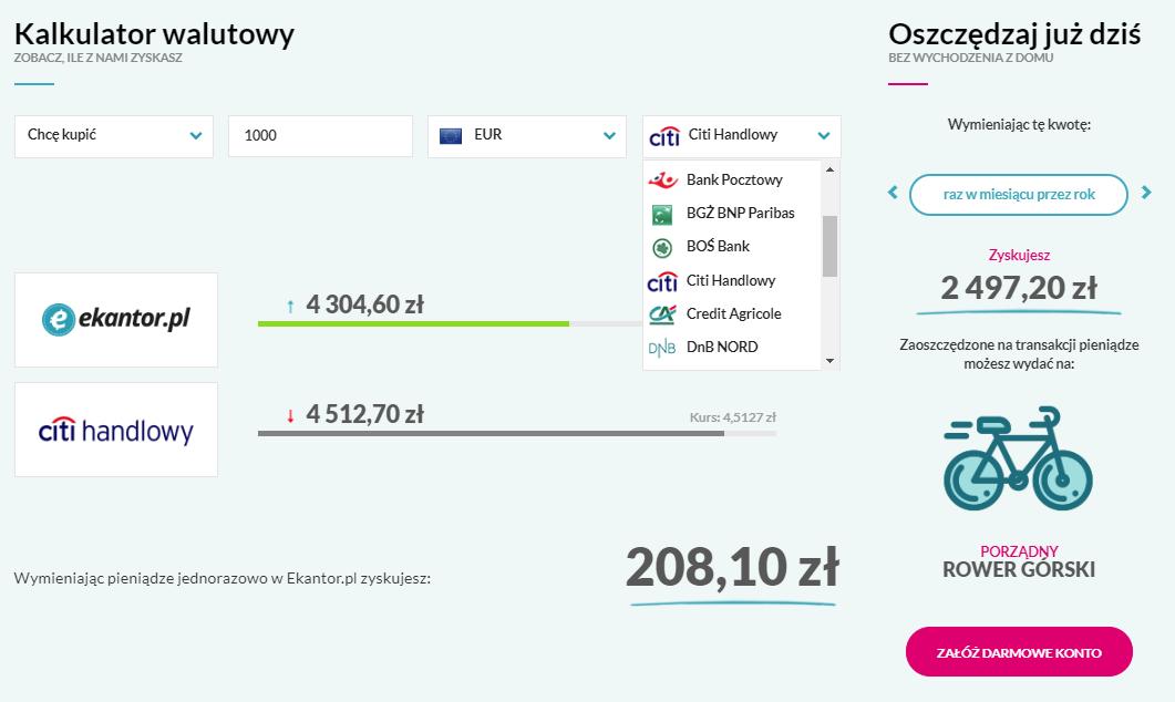 Ekantor pl kalkulator walutowy, licznik walut 1000 euro, Wymiana walut online bezpieczny internetowy kantor