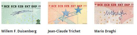 podpis prezesów EBC na banknotach euro, EUR, Ekantorpl, wymiana walut