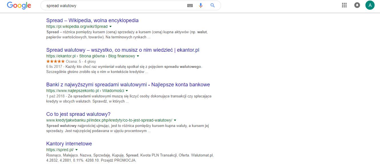 spread walutowy wyniki wyszukwiania google Ekantor.pl kantor internetowy