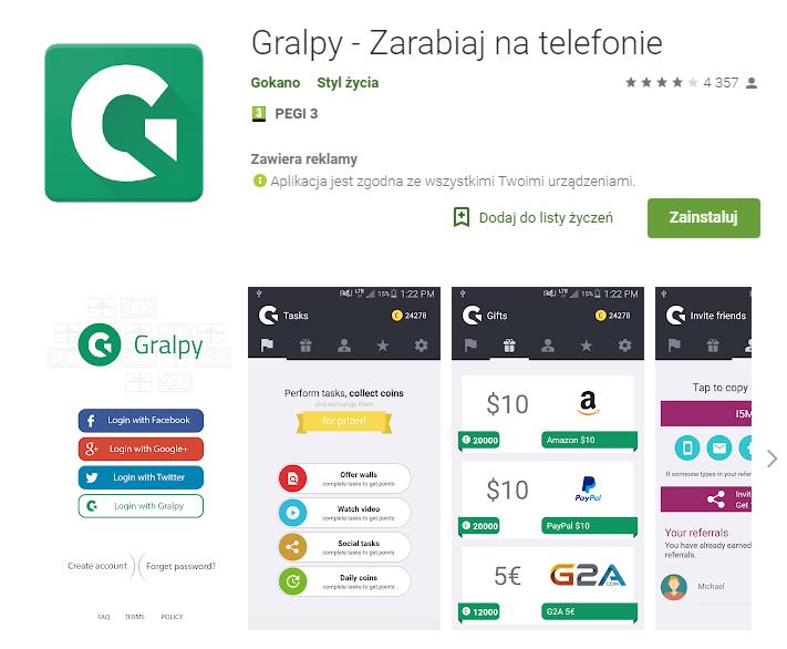 Gralpy - aplikacja do zarabiania