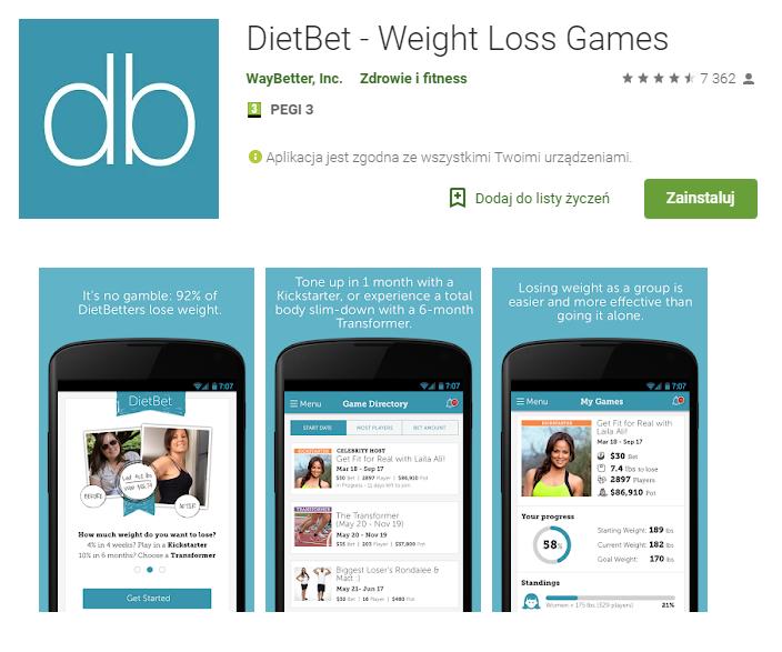 DietBet - aplikacja do zarabiania Android