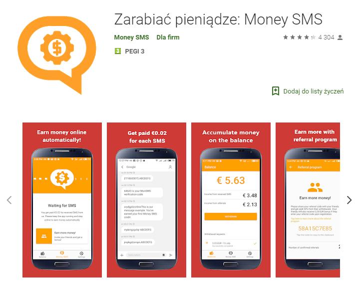 money SMS - aplikacja do zarabiania Android
