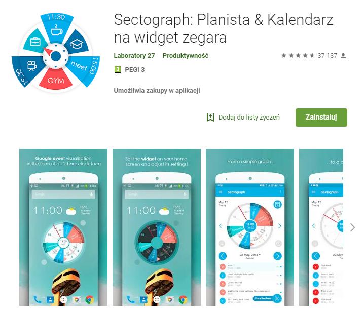 Sectograph Planista Kalendarz aplikacja do pracy zarządzanie czasem chat ekantor.pl