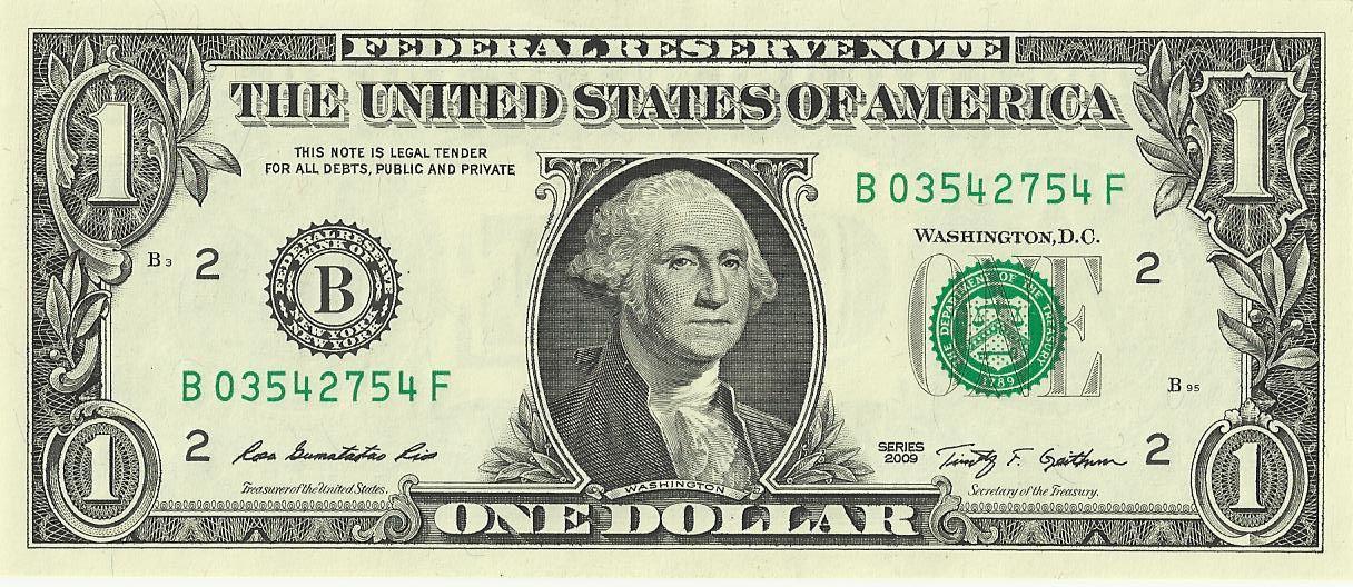 Banknot jednodolarowy - 1$; awers - ekantor.pl banknoty - symbole na banknotach kantor internetowy