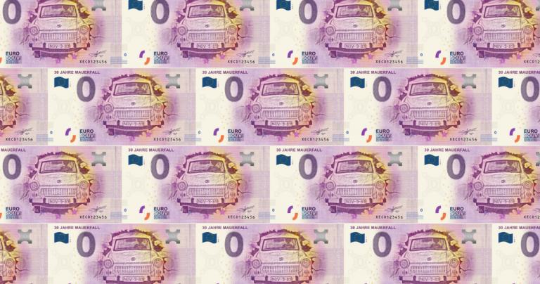 banknot euro z trabantem 0 euro banknoty kolekcjonerskie europa