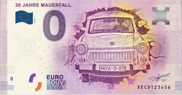 banknot euro z trabantem
