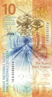 szwajcaria - najpiekniejszy banknot nominał polimerowe 10 franków a
