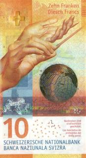 szwajcaria - najpiekniejszy banknot nominał polimerowe 10 franków