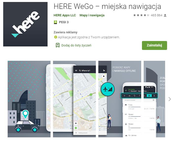 HERE WeGo - najlepsza aplikacja do nawigacji gps - pobierz - aplikacja do nawigacji android - ekantor pl