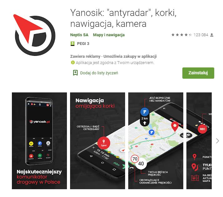 Yanosik - najlepsza aplikacja do nawigacji gps - aplikacja fotoradar kontrolna na drodze -pobierz - aplikacja do nawigacji android - ekantor pl